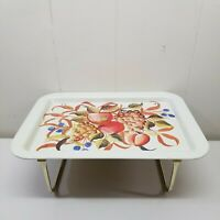 Vintage Metal TV Lap Tray With Legs Stand Serving Display Home Decor Fruit