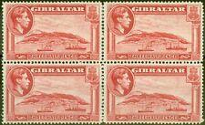 More details for gibraltar 1938 1 1/2d scarlet sg123 p.14 v.f mnh & lmm block of 4