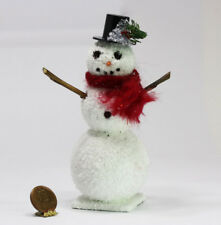 Dollhouse Miniature Large Snowman with Scarf and Decorated Top Hat