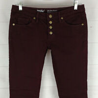 Mossimo BUTTON FLY womens size 4 SUPER STRETCH maroon soft skinny mid rise jeans