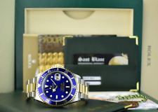 ROLEX - 40mm 18kt Gold & Stainless Submariner Blue Index SEL 16613 SANT BLANC