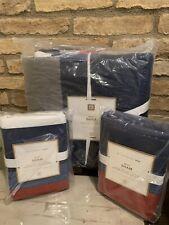 POTTERY BARN TEEN MVP Stripe Quilt Shams  Full Queen Multi-Color Bedding Set New