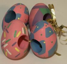 Set of 4 Painted Decorated Easter Egg Shaped Napkin Rings Eggs Spring Table Deco