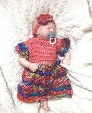 HANDMADE newborn 0-3 months baby hippy crochet knit dress headband set Romany