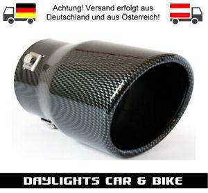 Tuning Auspuff Blende Carbon Endrohr Sport Optik Rund 90 mm Edelstahl MT007C