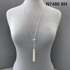 Simple Long Silver Finished Chain Double Chain Tassel Pendants Necklace N 7480RH