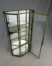 "VTG Brass Curio Glass Shelves Pentagon Mirror Table Top Cabinet Display Case 13"""