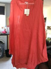 PIAZZO LINEN BAGGY 14/16/18 TULIP SHAPED SLEEVELESS CORAL BNWTS MID SUMMER DRESS