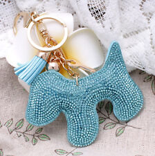 Hot Fashion 700+ Crystals Rhinestones Blue Dog For Women Handbag Keyring Bag
