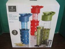 BOX OF 3 GIBSON HYDRATION WATER BOTTLES WITH INFUSERS & TEA STRAINER 17 OZS