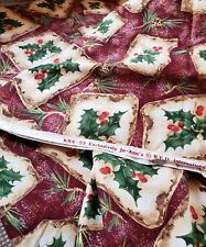 """Christmas Sewing Fabric Burgundy Holly Pinecone Gold Vintage look BTY 45"""" Cotton"""