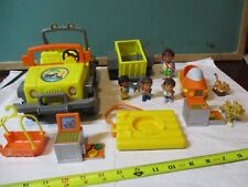 Fisher price diego Jeep lot with people trailer animals jet ski basket & more