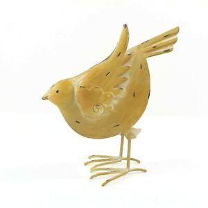 """Yellow Tin Metal Bird Farmhouse Style Spring Summer Home Decor 12"""""""