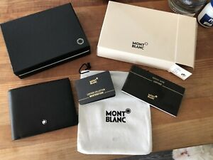 NEW Montblanc Meisterstück 6cc Black Leather Men's Wallet w/Box, Bag, Labels Etc