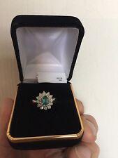 NATURAL EXQUISITE DEEP BLUE  PARAIBA TOURMALINE & DIAMOND  YG RING
