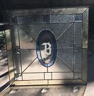 Vintage '70s  Leaded Stained Beveled Glass Window Aprox. 20' x 21' Etched B