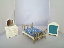 Vintage 1977 Fisher Price Dollhouse Armoire, Dresser w/Mirror, Bed w/Mattress