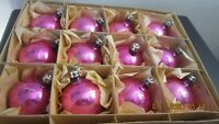 """12 VINTAGE BLOWN GLASS PINK CHRISTMAS ORNAMENTS / Orig. box Made in Poland  2"""""""