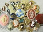 J8 All Wear 24pc Vtg Cameo Jewelry Lot Brooches Lockets Rings Earrings Necklaces