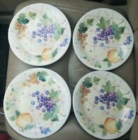 Pfaltzgraff Orchard Salad Plates SET 4 USA Fruit Flowers Dessert Grapes 8 3/4""