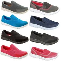 WOMENS LADIES GYM SHOES TRAINERS FLAT SLIP ON CASUAL LIGHTWEIGHT SPORTS PUMPS SZ