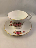 Vintage Duchess Bone China England 385 Teacup & Saucer Pink Roses Gold Trim