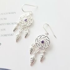 Sterling silver 925 delicate dream catcher purple stone dangling hook earrings