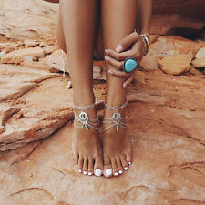 Boho Turquoise Beads Tassel Chain Anklet Barefoot Beach Sandals Foot Jewelry New