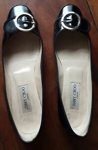 JIMMY CHOO SUEDE AND PATENT KITTEN HEEL BUCKLE SHOES-BLACK,SIZE 10.5 / EU 40.5