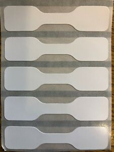 Jewellery Labels Price Tags ~ Self Adhesive Dumbell White Labels   5.6cm x 13mm