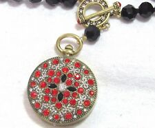 """Heidi Daus """"Timing is Everything"""" Watch Fob-ulous Pendant  Jet"""