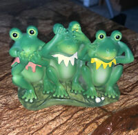 """Green Frogs Hear See and Speak No Evil Side-By-Side 3 1/4"""" High"""