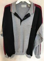 ***Men's Pullover Sweatshirt. Gray With Black On Shoulders.***