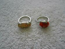 2 LUCITE FLOWER RINGS SILVER TONE BAND SIZE 7.5