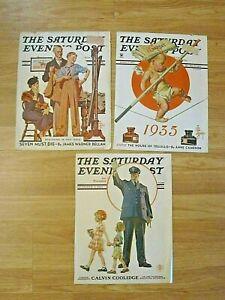 3 Saturday Evening Post covers-J C Leyendecker-1931-37-New Year baby/policeman