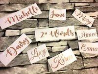 "10 X ROSE GOLD Vinyl Decal Name Stickers Wedding Birthdays Any Single Word 2"""