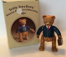 Russ Teddy Town Bears Businessman 9407 Porcelain Jointed Movable in Box