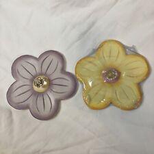 Pier 1 Kids * Floral Flower Wall Hanger Decor Purple Yellow * Lot Of 2