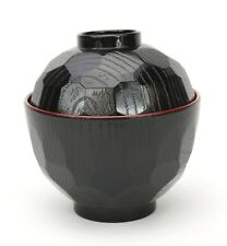 Japanese Lacquer Lidded Miso Soup Bowl, Black, 9.5cm. Made in Japan, Authentic