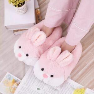 Ladies Slippers Cute Animal Rabbit Indoor Home shoes Non slip Winter Kids Flat