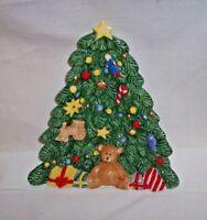 "Nikko Christmas TEDDY BEAR TRAIN Tree Open Candy Dish 7.5"""