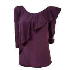 See by Chloe Blouse Ruffle Top 100% Silk 3/4 Sleeve Purple Backless Flowy Size 2