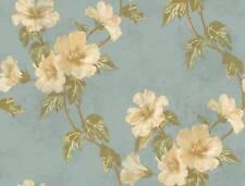 Wallpaper Designer Floral Hibiscus Trail Vine Green Leaves on Light Blue