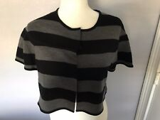 BCBG Max Azria Black & Gray Striped Cropped Sweater / Shrug Short Sleeve Small