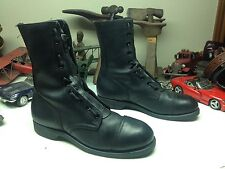 1982 GOODYEAR BLACK LEATHER ZIP UP LACE UP MILITARY STEEL TOE FLIGHT DECK BOOTS