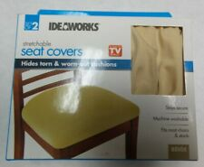 Set Of 2 Beige Stretchable Seat Cover Protectors Dining Chair Replacements
