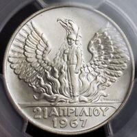 1967 (1970), Greece, Constantine II. Nice Silver 50 Drachmai Coin. PCGS MS-67!