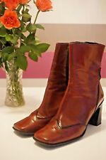 Ravel Red Leather Short Boots Medium Heel - Size 38 (U.K. 5.5)