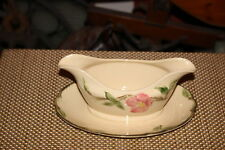 Vintage Franciscan Desert Rose Gravy Sauce Boat With Attached Plate-Pink Roses
