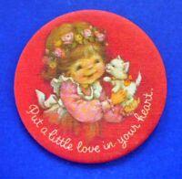 Hallmark BUTTON Pin Valentines Vintage HAMILTON Kitten Cat PUT LOVE Hoilday FABC